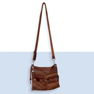Fossils Crossbody Distressed Brown Leather Purse
